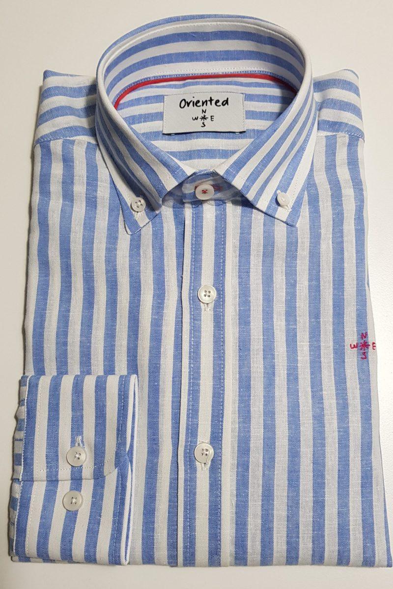 lino rayas azul camisa