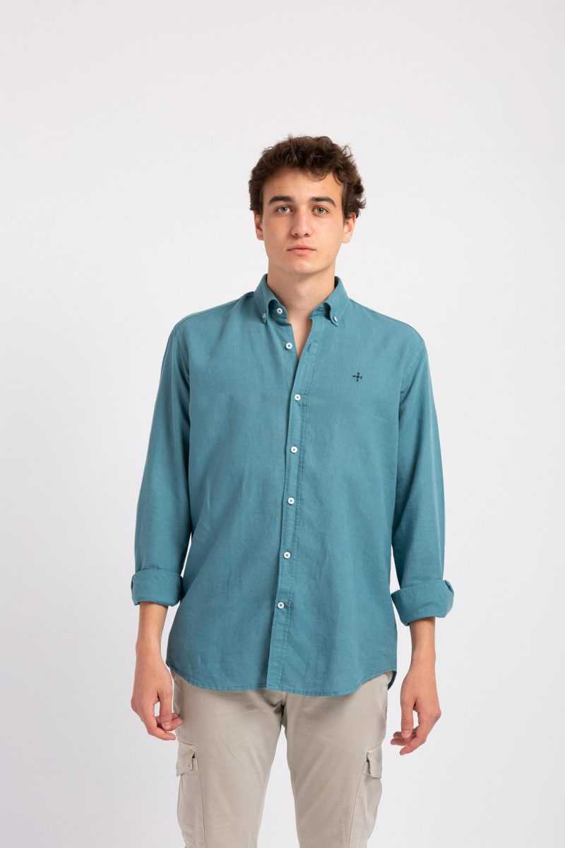 Camisa Lino Azul Petróleo